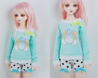 Slim MSD Minifee or SD BJD Sweater -Totoro Mint