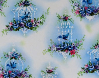 Vintage All-Occasion Gift Wrap - Wrapping Paper - Beautiful BLUE BIRDS - 1950s