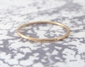 9ct Rose Gold Band Ring - Skinny - Hammered