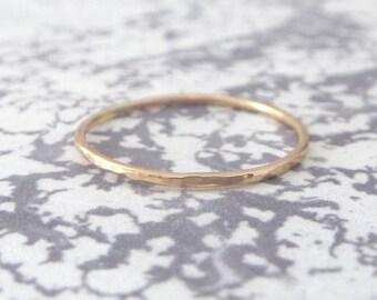 Thin Rose Gold Ring - Hammered - 9ct Rose Gold Ring - Skinny Rose Gold Ring - Thin Ring - Thin Gold Ring - 9ct Rose Gold