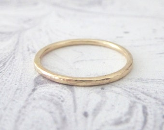 Yellow Gold Ring - Hammered or Smooth - 9ct yellow gold