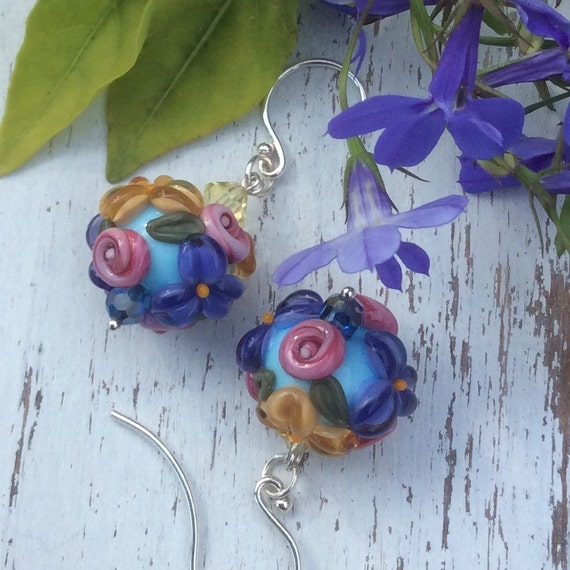 Rose, Goldenrod, and Purple Lampwork Earring, Floral, Summer