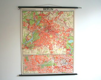 RARE .BERLIN. Large Pull down chart Pull-down Chart. Poster. Map. ddr 1970. (705)