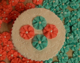 100 Coral & Turquoise Royal Icing Drop Flowers Edible for cupcakes, cakes, cookies, cakepops
