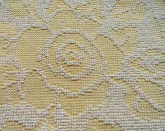 Yellow Hobnail Fabric Vintage Fieldcrest Chenille Cabbage Rose and Leaves Bedspread Fabric Piece...18 x 24""