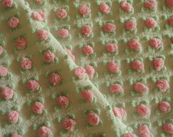 Pink Morgan Jones Rosebud Chenille Vintage Bedspread Fabric Piece...12 x 24""