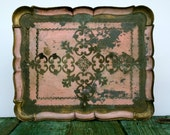 Pretty pale pink and golden serving tray