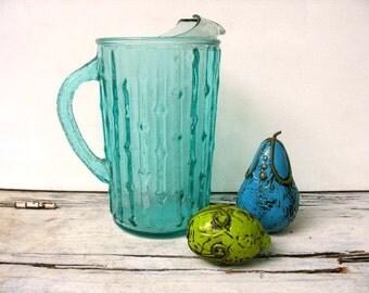Aquamarine Tahiti bamboo bubble pitcher, vintage pitcher, aqua blue water pitcher