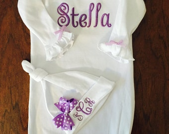 Newborn Girl Take Home -Outfit Monogram Layette Gown -Personalized Baby Girl Clothes Layette Gown and Personalized Hat New Baby Girl Gift