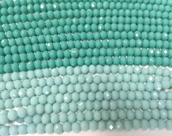6mm crystal rondelle glass, 55 beads, faceted