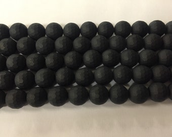 12mm round, faceted matte onyx, around 30 beads