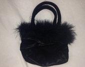 black furry fuzzy purse