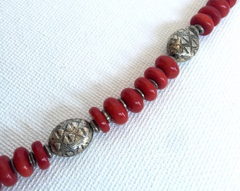 Abacus Necklace, red roundelle coral, antiqued silver tribal beads choker strand necklace