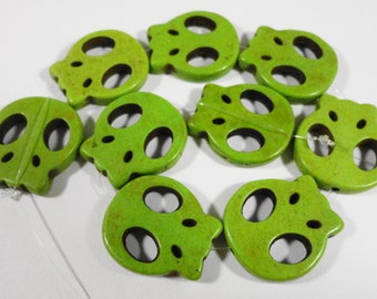 "Green Skull Beads 20mm Lime Green Howlite Skull Beads Stone Skull Beads Gemstone Skull Beads Skeleton Beads on a  7 1/4"" Strand with 9 Beads"