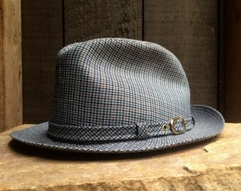 Stetson fedora, hat - houndstooth, tweed Size 7 1/4