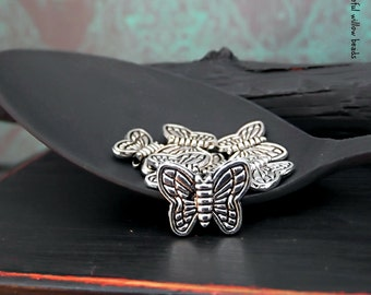 Butterfly Metal Bead - Antique Silver Finish Lead Free Pewter - Boho Metal Butterfly Bead - 10x8mm - Pkg. 8