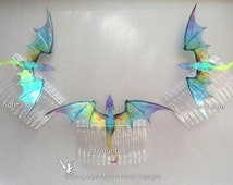 Dragon Hair Combs, Various Colours, iridescent shimmering, handmade hair accessory.
