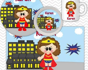 Wonder Women Plate Bowl Mug Set - Personalized Wonder Women Plate Set - Customized Plate, Bowl, Mug - Melamine Plate, Bowl & Set for Kids