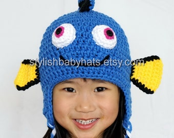 Finding Dory hat, Fish Hat, Crochet Baby Hat, Animal Hat, Blue, photo prop, Inspired by Finding Dory