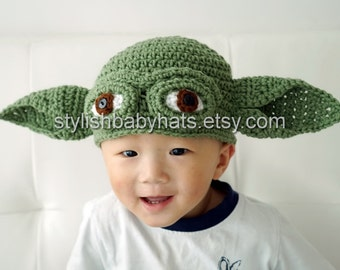 Yoda hat, Star Wars hat, Crochet Yoda Hat, Crochet Baby Hat, Grand Master Yoda, photo prop, Inspired by Star Wars