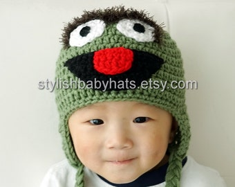 Oscar the Grouch Hat, Crochet Baby Hat, Animal Hat, photo prop, green, Inspired by Oscar the Grouch on Sesame Street