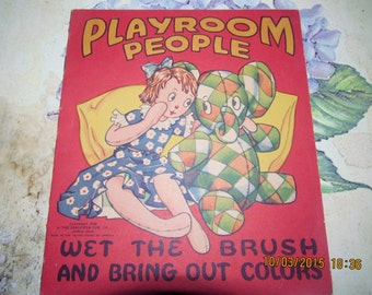 1941 Saalfield Publication Co Fun Time Playroom People Children's Coloring Book Akron, Ohio