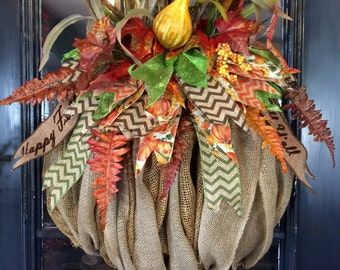 Burlap Fall Pumpkin Wreath