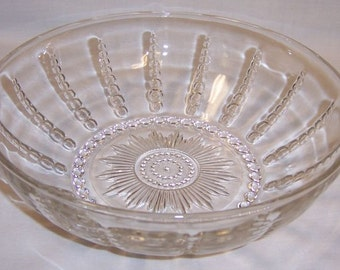 Federal Glass Crystal COLUMBIA 8 1/2 Inch Round SALAD Serving BOWL