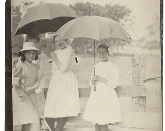 4 Young Girls Under Umbrellas by The Cow Pasture-RPPC-1910s