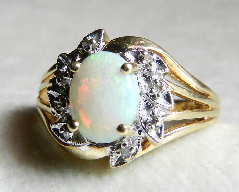 Opal Engagement Ring Opal Diamond Ring Diamond Halo 1.10 Ct