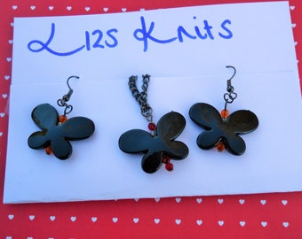 Black Butterfly Necklace and Earring Ear Hook Set Orange Red Beads