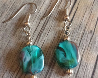 Turquoise Earrings, Swirl Dangle Earrings, Glass Bead Dangle Earrings, Silver Earrings, Silver Hookwire Earrings, Blue Green Earrings