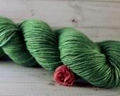 Evergreen Hand Dyed Yarn, DK alpaca silk yarn, green yarn