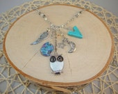 Silver Charm Necklace- Owl, Wing, Moon- One of a Kind!