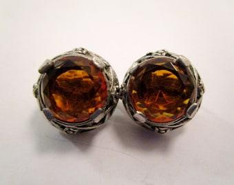 SALE! Antique Marked Art Deco Czech Amber Glass Pot Metal Clip On Earrings