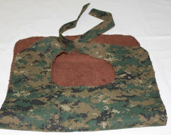 Xtra Long Adult Bib/Clothing Protector - No Buttons, No Velcro, No Snaps - Camo colors, Ties in the Back - Fathers Day Gift Idea