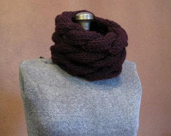 Purple Chunky Cable Knit Cowl - Eggplant