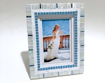 Wedding Gift - Photo Frame - White Blue - Mosaic Picture Frame - Beach Home Decor - New Home Gift - Decorative Frame - Cottage Chic Decor