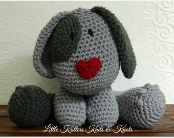 Crochet Amigurumi Stuffed Huggable Grey Toy Dog/Puppy