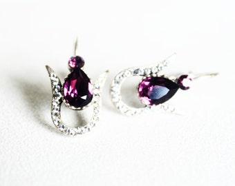 TEARDROP purple tulip earrings / art deco clear crystal swarovski rhinestone vintage style earrings / wedding bridal bridesmaids earrings