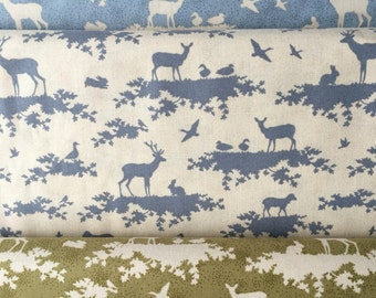 Tilda Fabric Forest in Slate Blue, green or blue. As FQ, half metre or full metre, cut to order