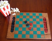Solid Wood Checkerboard & Checkers - Folk Art Vintage Checkerboard - Game Night Checker or Chess Board - Great Retirement Gift