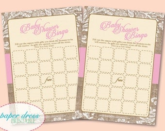 Rustic Pink Classic Burlap Baby Shower Bingo Shabby Chic Girl Vintage Instant Download - Printable PDF