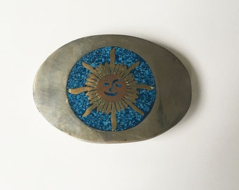 1970s Inlay-Brass-Copper-Silverplate Sun Belt Buckle - Southwestern