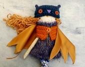 Owl Girl Doll/ / OOAK Doll/ Handmade Doll/ Whimsical Owl Doll/ Owl Hat/ Rag Girl Doll/Soft Owl Doll