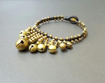 Hilltribe  Jingling Gold  Brass  Bracelet