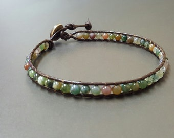 Jasper Bean  Leather Anklet