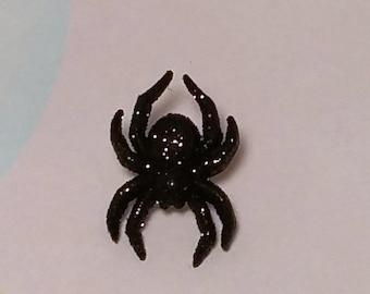 Black Glitter Spider Pin