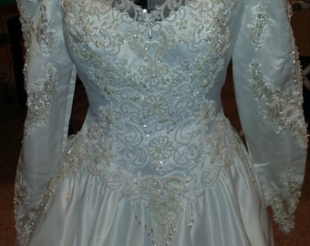Available for Upcycling to Wedding Blouse - V Front, Beaded Heart Back
