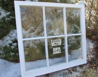 23 x 21 Vintage Window sash old 6 pane  frame from 1941 Arts& Crafts